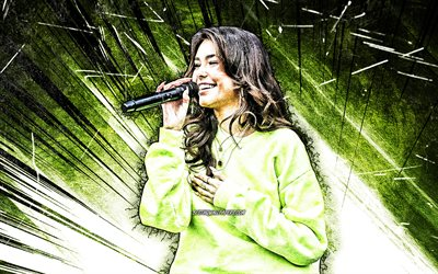 4k, Madison Beer, grunge art, american singer, music stars, green abstract rays, american celebrity, Madison Elle Beer, Madison Beer with microphone, superstars, Madison Beer 4K