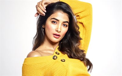Pooja Hegde, indian actress, bollywood, yellow knitted dress, photoshoot, beautiful woman