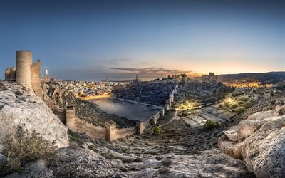 Alcazaba of Almeria, Wall of the Alcazaba, evening, sunset, Almeria panorama, Almeria cityscape, El Barranco del Caballar, Almeria, Andalucia, Spain