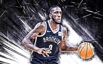 4k, Taurean Prince, grunge art, Brooklyn Nets, NBA, basketball, Taurean Waller-Prince, USA, Taurean Prince Brooklyn Nets, white abstract rays, Taurean Prince 4K