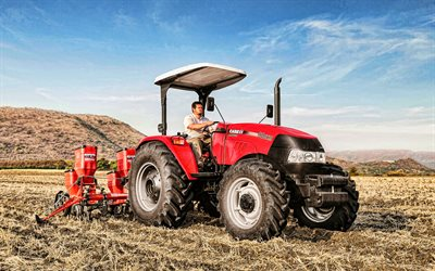 Case IH Farmall 90JXM, 4k, plowing field, 2020 tractors, agricultural machinery, red tractor, HDR, tractor in the field, agriculture, harvest, Case