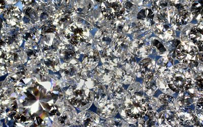 white gems, 4k, macro, crystals textures, gems textures, background with gems, diamonds, crystals patterns