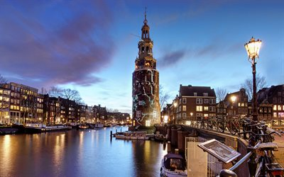 Amsterdam, chapel, old buildings, evening, sunset, Amsterdam panorama, Amsterdam cityscape, Netherlands