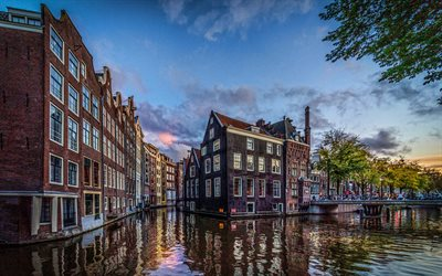 4k, Amsterdam, dutch cities, water channel, Netherlands, Europe, summer, HRD