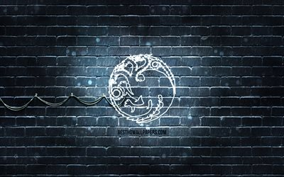Talon Targaryenin tunnus, 4k, harmaa tiiliseinä, Game Of Thrones, taideteos, Game of Thrones -talot, House Targaryen -logo, House Targaryen, neonkuvakkeet, House Targaryen -merkki