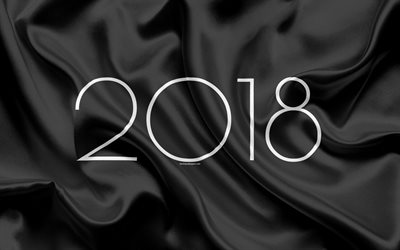 2018 New Year, black silk, 2018 concepts, New Year, fabric texture