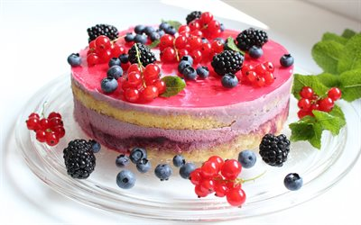 cake, sweets, pastries, cheesecake, blackberries, blueberries, red currants, berries