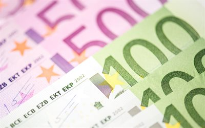 money, 4k, euro, banknotes, bills, 100 euros, 500 euros