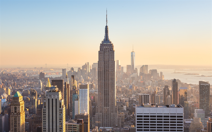 Download Wallpapers 4k Empire State Building Morning New
