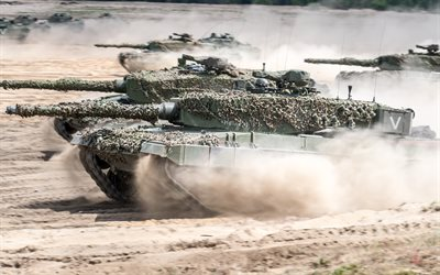 Leopard 2, 4k, German tanks, exercises, range, land forces, modern armored vehicles, tanks