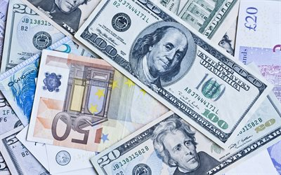 money, 4k, banknotes, dollars, money bills, money background, finance concepts, business concepts, 100 dollars, 50 euros