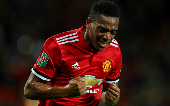 Download Wallpapers Anthony Martial, 4k, MU, Goal, Premier