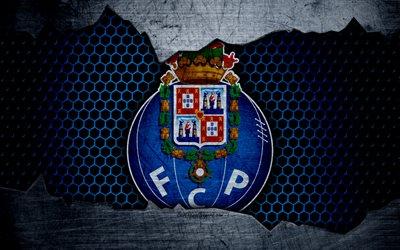 Download wallpapers FC Porto 4k logo Primeira Liga soccer football club Portugal grunge