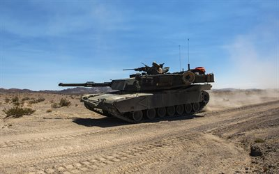 M1A1 Abrams, 4K, modern armored vehicles, American tank, Army, USA