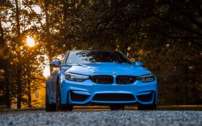 4k, BMW M4, 2017 cars, F82, BMW 4-series Coupe, blue m4, german cars, BMW