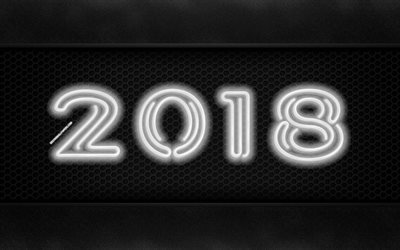 2018 year, 4k, neon digits, creative, metal background, 2018, New Year 2018