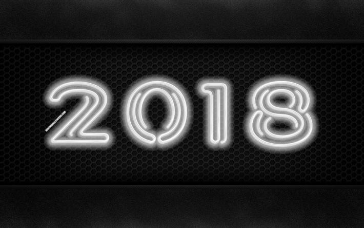 Download Wallpapers 2018 Year, 4k, Neon Digits, Creative