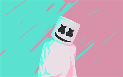 Marshmello, minimal, dj station, fan art, superstars, Christopher Comstock, DJ Marshmello, DJs