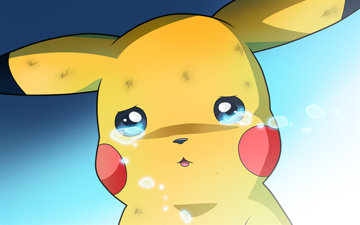 4k, Pikachu, cry, Pokemon, chubby rodent, artwork