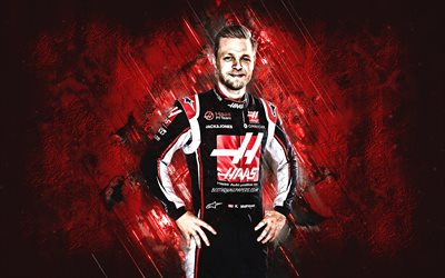 Kevin Magnussen, Haas F1 Team, Danish race car driver, portrait, Formula 1, red stone background, F1, racing