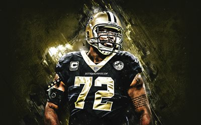 Terron Armstead, New Orleans Saints, NFL, american football, golden stone background, National Football League