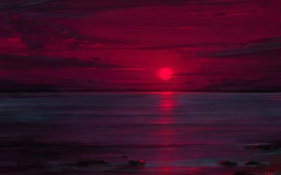 sea, sunset, red sun, darkness, art
