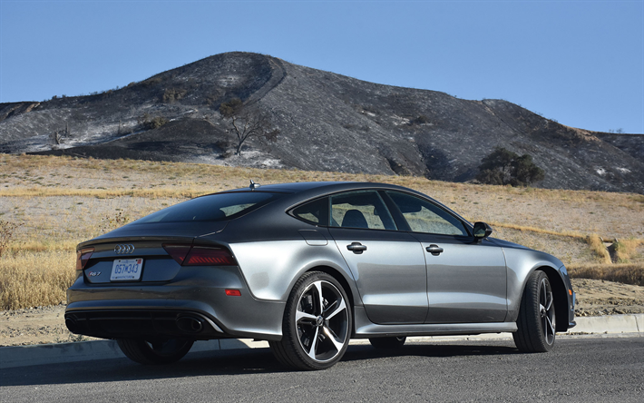 Télécharger fonds d'écran Audi RS7, 2017, vue de l'arrière, gris métallisé a7, version sport ...
