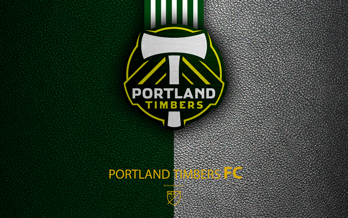 Portland Timbers FC 4K American Soccer Club MLS Leather Texture Logo