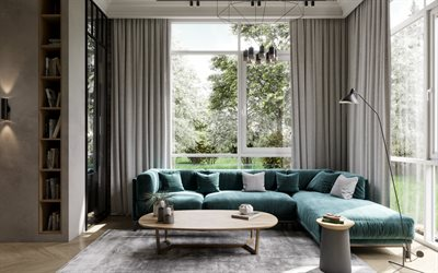 stylish living room interior design, green sofa, loft style, gray walls in the living room, modern interior design