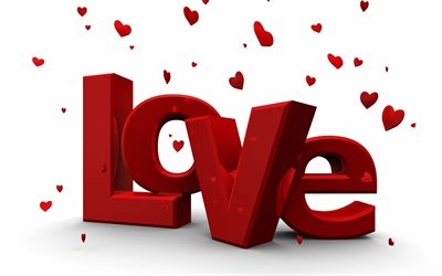 Love 3d red inscription, 3d love background, February 14, Love background, 3d red letters