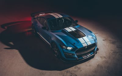 2020, Ford Mustang Shelby GT500, 4k, front view, exterior, sports coupe, tuning Mustang, american sports cars, Ford