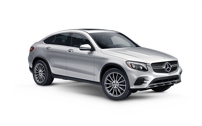 Download wallpapers mercedes benz glc coupe 2017 silver for Mercedes benz crossover 2016