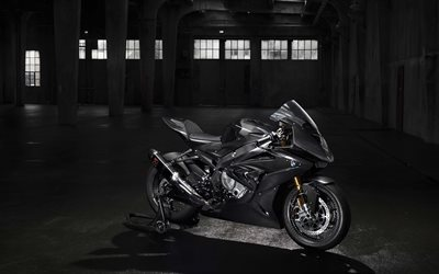BMW HP4 Race, 4K, 2017 bikes, superbikes, gray motorcycle