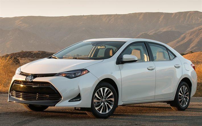 Download wallpapers Toyota Corolla, 2017, LE, sedan, white ...