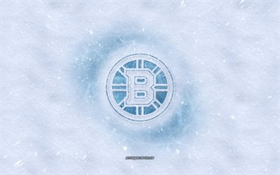 Los Bruins de Boston logotipo, de la American hockey club, invierno conceptos, NHL, los Bruins de Boston logotipo de hielo, nieve textura, Boston, Massachusetts, estados UNIDOS, la nieve de fondo, de los Bruins de Boston, hockey