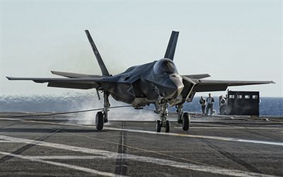 Lockheed Martin F-35 Lightning II, US Navy, fighter bomber, american war plane, F-35, carrier deck, USA
