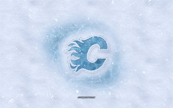 Download Wallpapers Calgary Flames Logo Canadian Hockey Club Winter Concepts Nhl Calgary Flames Ice Logo Snow Texture Calgary Alberta Canada Usa Snow Background Calgary Flames Hockey For Desktop Free Pictures For Desktop
