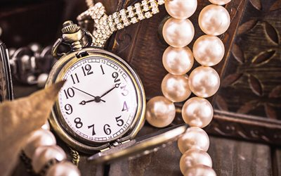 watches, old pocket watches, time concepts, retro things, pearls