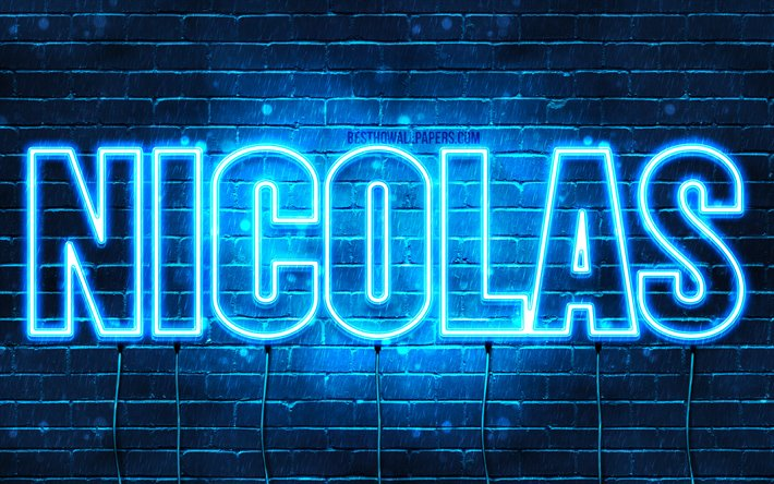 Nicolas, 4k, wallpapers with names, horizontal text, Nicolas name, blue neon lights, picture with Nicolas name