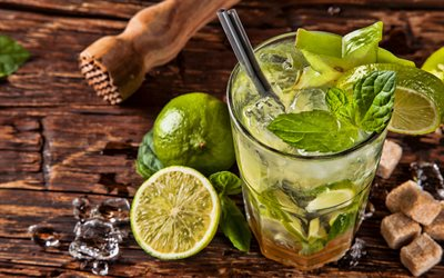 Mojito, 4k, soft drinks, cocktails, lemon and mint, ice drinks, glass with drink