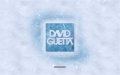David Guetta logo, winter concepts, french dj, snow texture, snow background, David Guetta emblem, winter art, David Guetta