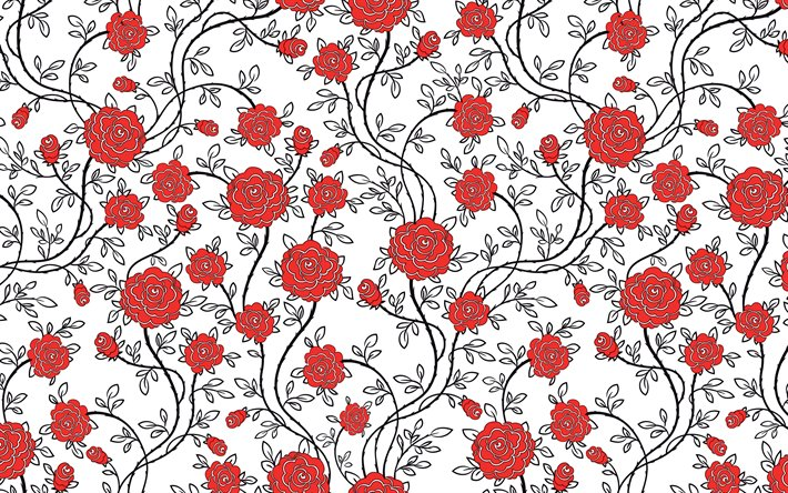 Download Wallpapers 4k Red Roses Pattern Floral Patterns