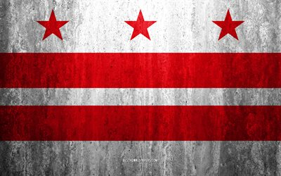 Flag of Washington, 4k, stone background, American city, grunge flag, Washington, USA, Washington flag, grunge art, stone texture, flags of american cities