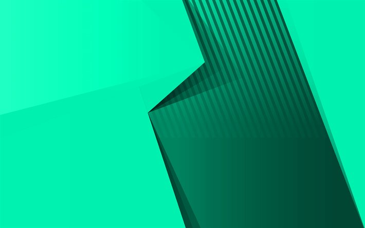 Green abstract background, green geometric abstract, Green creative background, material design, Green paper background
