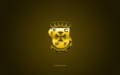 FC Pacos de Ferreira, Portuguese football club, Primeira Liga, yellow logo, yellow carbon fiber background, football, Pacos de Ferreira, Portugal, Pacos de Ferreira logo