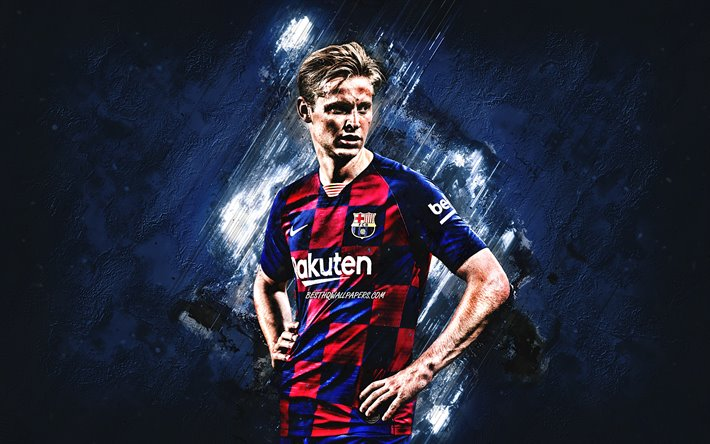 Download Wallpapers Frenkie De Jong Fc Barcelona Portrait Blue Background Dutch Football Player Midfielder Champions League La Liga Spain Catalonia Football For Desktop Free Pictures For Desktop Free