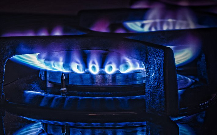 blue gas fire, gas flames, gas concepts, blue flame, blue fire on a black background, fuel concepts