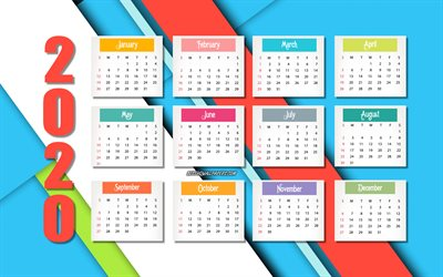 Abstract 2020 calendar, colorful abstract background, 2020 concepts, 2020 all months calendar, creative background, Happy New Year 2020, calendar