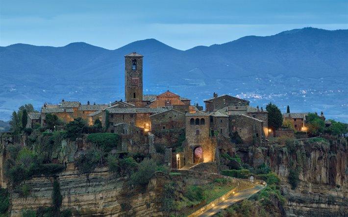 Download Wallpapers Civita Di Bagnoregio Evening Sunset