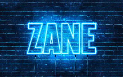 Zane, 4k, wallpapers with names, horizontal text, Zane name, blue neon lights, picture with Zane name